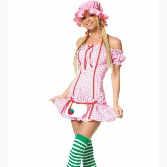 Worn 1x 3piece strawberry girl costume